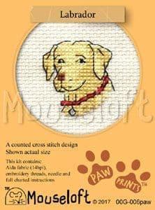 Mouseloft Labrador Paw Prints cross stitch kit